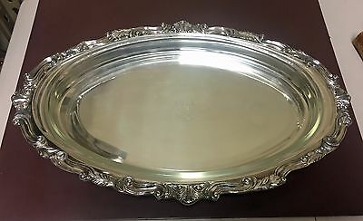 Sheridan Silverplate Handled Footed Oval Serving Tray w/ Pyrex Casserole Dish