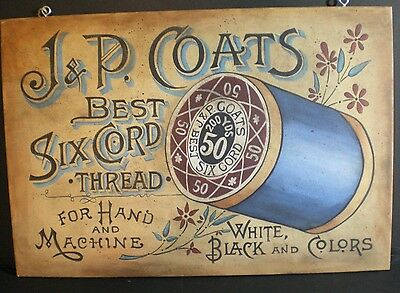J & P Coats wood advertising sign-Jenny Salsini