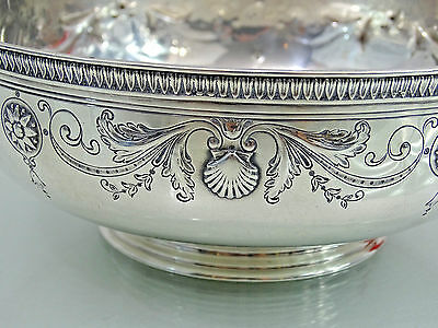 MAGNIFICENT TIFFANY STERLING SILVER FRUIT BOWL LARGE CANDY DISH sea shell motif