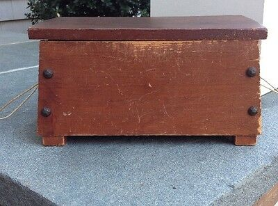 Antique Rustic Hand Made Wooden Sewing Caddy Box ~ circa 1920-30