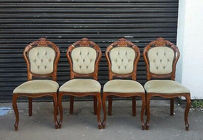 French Louis Armchair Shabby Chic Bedroom Hall Wooden Frame Chair ×4