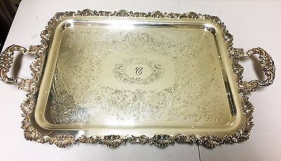 Vintage Large Sheridan Footed Handled Silver on Copper Plated Serving Tray