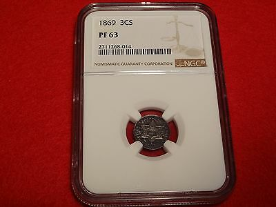 1869 3cS NGC PF63 ~ Better Date Three Cent Silver Proof