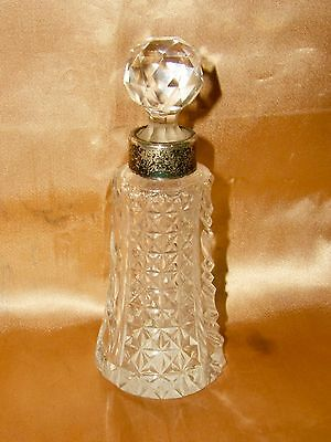 Large Antique Sterling Silver Fine Cut Glass Crystal Perfume Bottle Birmingham