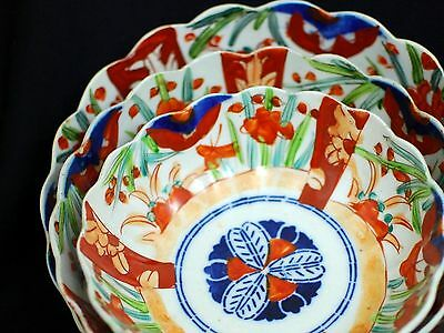 Set of 3 Antique Japanese Imari Porcelain Bowls Scalloped Hand-painted - SUMMER