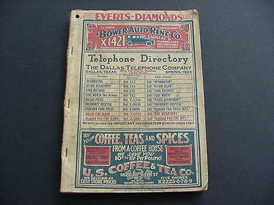 1923 Vintage Dallas Tx Telephone Book Directory Residence & Business Advertising