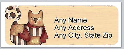 30 Personalized Address Labels Primitive Country Cat Buy 3 get 1 free (ac 640)