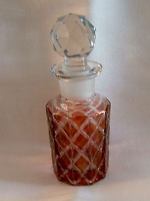 BEAUTIFUL Antique Fine RED Crystal Perfume Bottle With Ground FACATED Stopper
