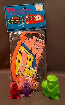 Set Of 4 Fred/barny The Flintstones. Magnetic, Hard And Softed Plastics