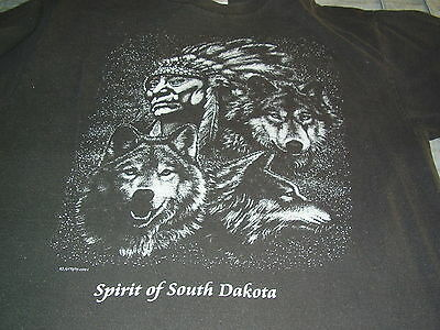 Spirit of South Dakota Indian warrior and Wolves black t shirt, size L