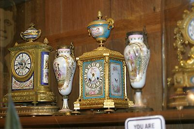 Stunning Pair Of  French  Sevres Hand Painted Porc. Urns, Gilded Bronze , 19C.