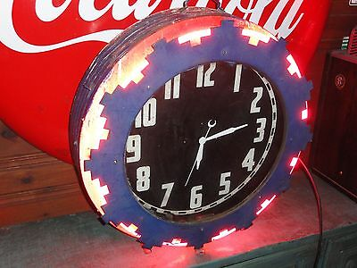 "Rare Antique Cleveland Aztec Electric Neon Wall Clock 26"" Vintage Gas Station"