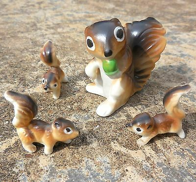 Vintage Miniature Bone China Squirrel with 3 Babies