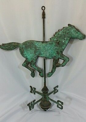 Vintage Copper Running Trotting Horse Wind Weathervane  Patina