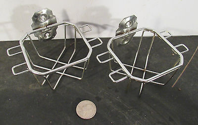 Pair chrome plated cup and tooth brush wall mounted holders Art Deco style