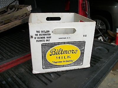 Rare Vintage Biltmore Dairy Asheville Nc. White Plastic Milk Crate Dated 8-63