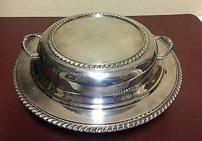 Vintage Sheffield Silver Plate 3 Pc Triple Divided Serving Dish w/ Handle on Lid