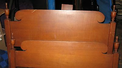 Vintage Solid Wood Twin Size Bed Head Board and Foot Board