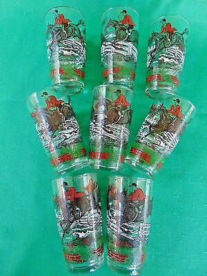 (8) Vintage HORSE and RIDER FOX HUNT Drinking Glasses Tumblers ~ 8 oz.