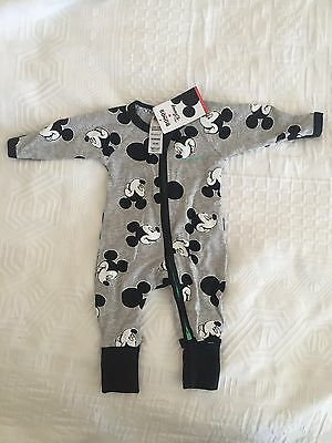 BONDS BABY Newborn Mickey Confetti Disney Grey Black Wondersuit Zip NWT 0000