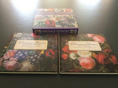 Heritage Flowers Address Book + Day Book Set Brand New victorian Diary Record