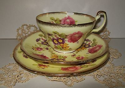 VINTAGE FOLEY CHINA TRIO SET (yellow floral) England **cup chipped**