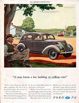 1937 Ford Car Ad -Four Door V-8 ----t331