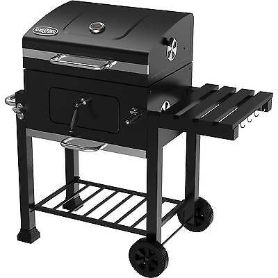 Charcoal Grill Steel Lid Outdoor Black BBQ Foldable Side Shelve Cast Iron Grate