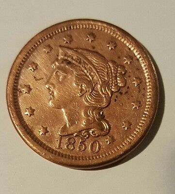 1850 Large Cent Braided Hair Cent Type Coin
