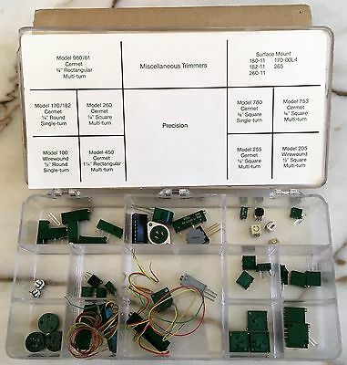 Technician's Plano Box Of 40+ Assorted Electronic Trimmers Vrn Cermet Wirewound