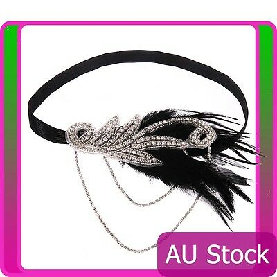 1920s Headpiece 20s Bridal Great Gatsby Black Feather Flapper Gangster Headband