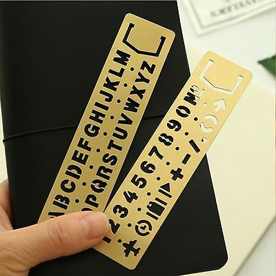 Drawing Graffiti Template Numbers&letters Hollow Ruler Brass Stationery