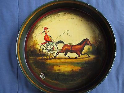 PETER OMPIR  vintage hand painted toleware folk art TRAY w HORSE & CART signed