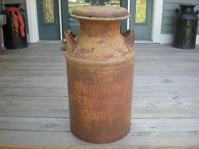 "Antique Rustic 10 Gallon Metal Milk Can with Lid- ""Producers Cry-Celina, Ohio"""