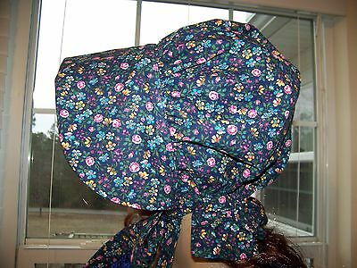 LADIES WOMENS PIONEER BONNET pring Bouquet navy pink flowers #1106 100% cotton