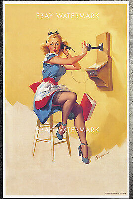 1940's Elvgren Authentic Pin-Up Poster Art Print Antique Telephone 11x17