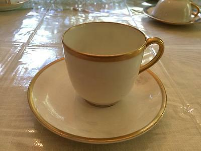 White with gold rim demitasse Limoges Vignaud cup + saucer
