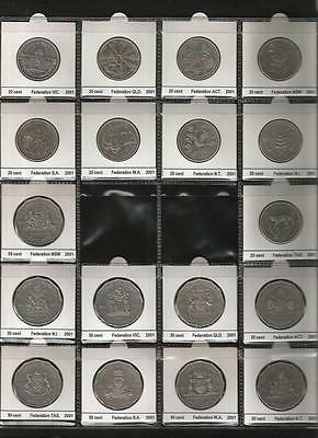 """2001 Fifty & Twenty Cent - """"federation Coin Set* - 18 Coins In Set - Aunc To Unc"""