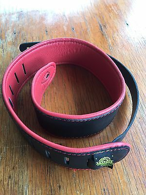 "Colonial Leather 2.5"" Padded Upholstery Leather Guitar Strap - Black & Red"