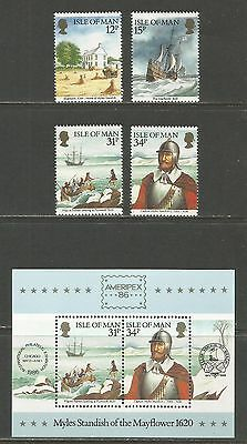 Isle of Man 1986 AMERIPEX '86/Plymouth Colony--Attractive Topical (308-11a) MNH