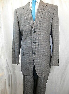 Vintage 80s 90s Tailored 2-Piece Grey Check Ferla Italian Wool Suit 42 Chest 34W