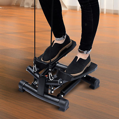 HOMCOM Mini Stepper Gym Exercise Leg Thigh Toning Workout Fitness Stair Arm Cord