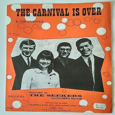THE SEEKERS The Carnival is Over- Sheet Music-Vintage