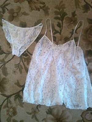 Vintage Serenada White Lace Sheer Matching Camisole Set Women's Size 2X