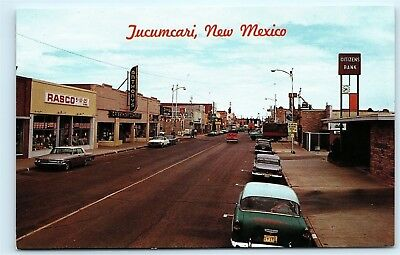 *Street View Downtown Tucumcari New Mexico NM Route 66 Old Vintage Postcard B93