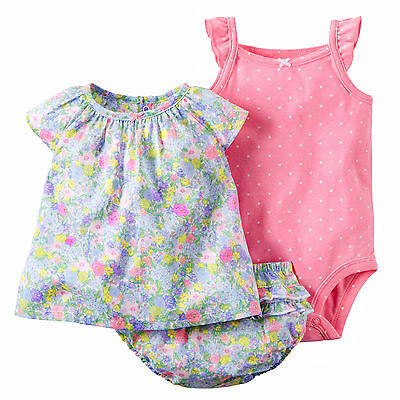 Carters 3 Months Floral Top, Pink Bodysuit & Diaper Cover Set Baby Girl Clothes