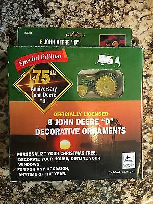 """John Deere """"D"""" Christmas Ornaments 75th Anniversary Special Edition Set of 6"""