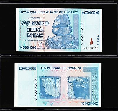 Zimbabwe 100 Trillion Dollars,aa/2008 Series With Currency Holder