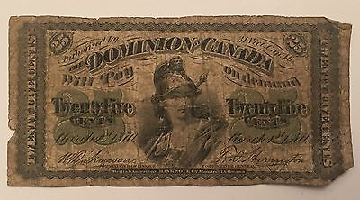 1870 Fractional Currency Dominion Of Canada 25 Cents Twenty Five Paper Bill