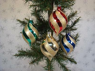 Vintage Lot Of 4 Glass Glitter Swirl Stripes Christmas Ornaments Bradford In Box